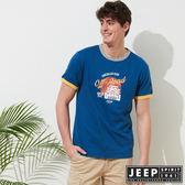 【JEEP】塗鴉風格撞色短袖TEE-藍