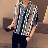 2019五分袖襯衫男夏季寬鬆休閒中袖七分雪紡網紅短袖襯衣韓版潮流