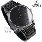 SIGMA 席格瑪 簡單時尚鋼帶腕錶 藍寶石水晶 日期視窗 霧黑色 防水手錶 男錶 1737M-B