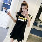 【GZ3E2】韓版寬鬆百搭中長款字母印花短袖T恤裙 飛飛袖荷葉邊連身裙 洋裝