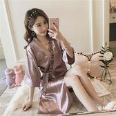睡袍性感睡衣女夏季短袖日系復古系帶睡袍薄款冰絲綢中長版浴袍家居服(限時八八折)