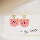 耳環 82307#銀針日韓卡通可愛粉色小熊耳環百搭時尚小巧桃心耳釘D507韓衣裳