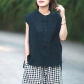 文青半襟立領襯衫上衣 中大尺碼【75-12-8529-18-8】ibella 艾貝拉