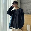 新款秋季假兩件長袖t恤男韓版潮流寬松ins衛衣學生港風打底衫 快速出貨