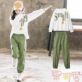 女童工裝套裝秋裝兒童裝大童運動兩件套女孩【聚可愛】