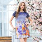 【岱妮蠶絲】抽象流行船領蠶絲短袖洋裝
