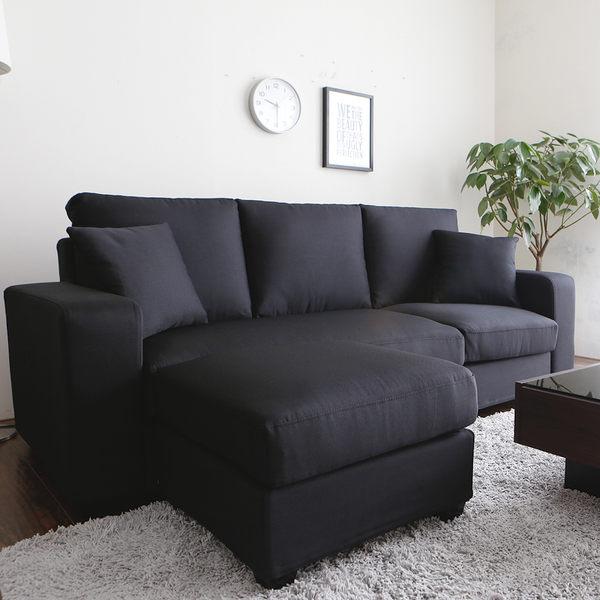 買家好評推薦👍三人+凳 布沙發 桑妮亮彩舒適L型沙發/6色/H&D東稻家居