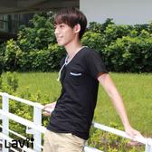 Lavii 白咖啡碳機能男V領雙色短袖上衣4色|男性|吸濕排汗|抑菌除臭|運動|慢跑|休閒|