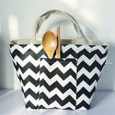 簡約波浪線條棉麻野餐保溫包拉鍊款 便當袋 保溫 束口袋 野餐袋 午餐提袋