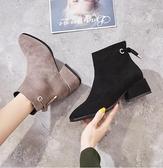 馬丁靴 英倫風加絨小短靴秋款馬丁靴子2019秋冬季新款網紅瘦瘦靴百搭女鞋  雙十二