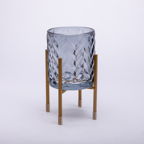 Royal晶透燭杯架-藍-生活工場
