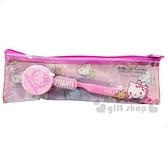 〔小禮堂〕Hello Kitty 旅行牙刷乳液盒組附收納袋《粉.小熊》盥洗用品.旅行用品 4712977-46588