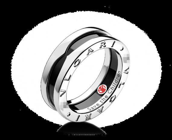 star 鈦鋼系列-銀黑黑色陶瓷慈善款小紅人戒指(男款)-A12