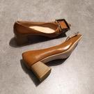 甜美娃娃鞋 尖頭粗跟單鞋淺口中跟高跟鞋方扣韓版舒適上班工作鞋黑色職業女鞋 豆豆鞋