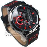 SKMEI 時刻美 三眼計時碼錶 個性時尚腕錶 真三眼 日期視窗 防水男錶 大錶 黑x紅 SK9149紅