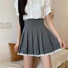 氣質裙子法式小眾蕾絲邊灰色百摺裙半身裙女夏季高腰顯瘦a字短裙 童趣屋 618狂歡