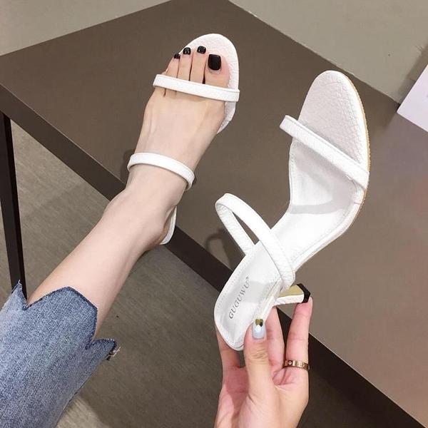 特惠 一字拖涼鞋仙女風白色性感新款夏季細跟網紅同款百搭高跟鞋