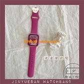 適用apple watch鋼化膜一體套裝iwatch2/3/4/5/6/se硅膠表帶ins風