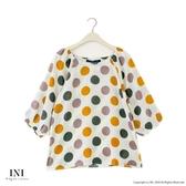 【INI】好搭簡單、滿版繽紛圓點上衣.綠色