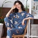 睡衣女夏季棉質短袖長褲兩件套薄款寬鬆大碼家居服套裝夏天 LR23939『麗人雅苑』