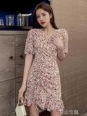 長袖洋裝寧莎 夏季新款韓版百搭修身 抽繩荷葉邊V領碎花短袖洋裝 青山市集