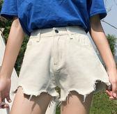EASON SHOP(GU6829)韓版毛邊抽鬚撕邊流蘇破洞波浪型設計牛仔短褲高腰褲女熱褲顯瘦黑色白色寬鬆A字褲