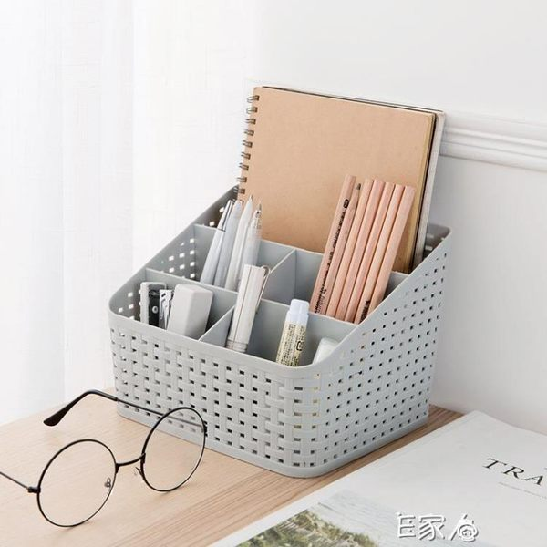 仿藤編化妝品收納盒梳妝台整理盒 E家人