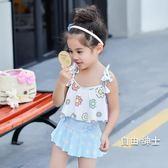 (萬聖節)兒童游泳裝女童女孩泳裝公主比基尼寶寶分體裙式小中大童泳裝帶帽