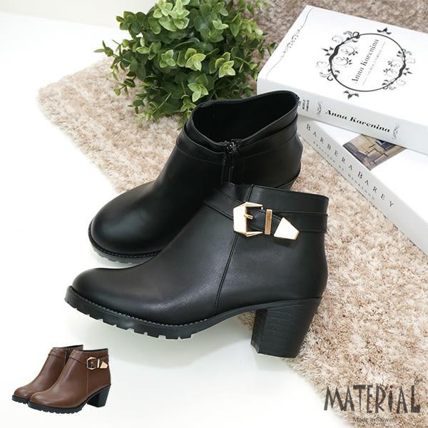 短靴 圓頭側扣帶金屬飾短靴 MA女鞋 T1371