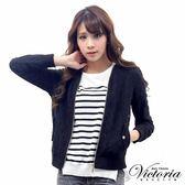 Victoria 無領蕾絲長袖外套-女-黑/白