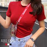 SISI【T20002】韓國春夏百搭單品性感顯胸圓領小口袋短袖T恤上衣T-shirt曲線基本款