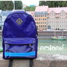 潮牌AMINAH~【am-0025】日本街頭潮人必備 潮流豬鼻+反光條後背包 日系狂野藍色
