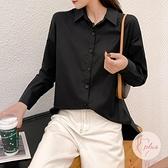 韓版寬鬆女上衣大碼白襯衫設計感小眾百搭襯衣【大碼百分百】