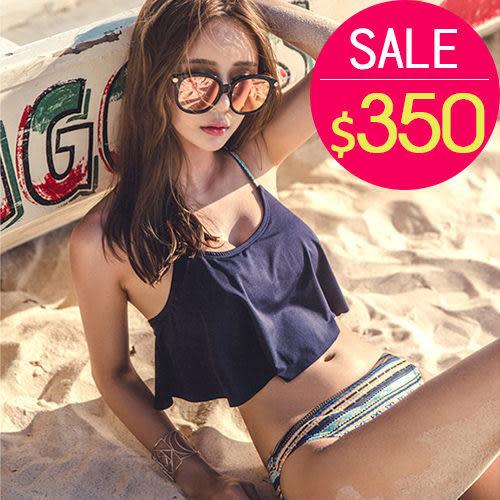 泳裝 比基尼 泳衣 圖騰 荷葉邊 性感 兩件套 泳裝【SF7818】 BOBI  夏天就是要穿比基尼