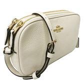 【COACH】經典LOGO牛皮雙層小斜背包相機包(小款-米白)