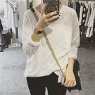 簡單純白色百搭長袖純棉T恤女插肩袖竹節棉打底衫上衣 米蘭街頭