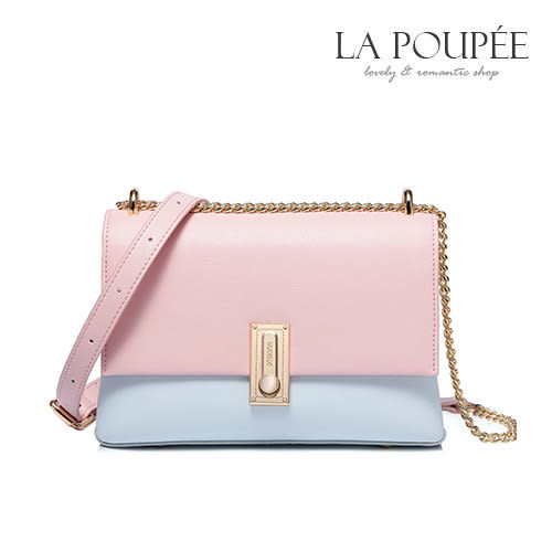 側背包 清新淡彩撞色小方包 2色 -La Poupee