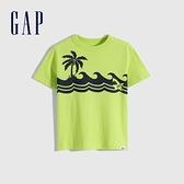 Gap男幼童 布萊納系列 可愛純棉印花短袖T恤 681424-黃綠色