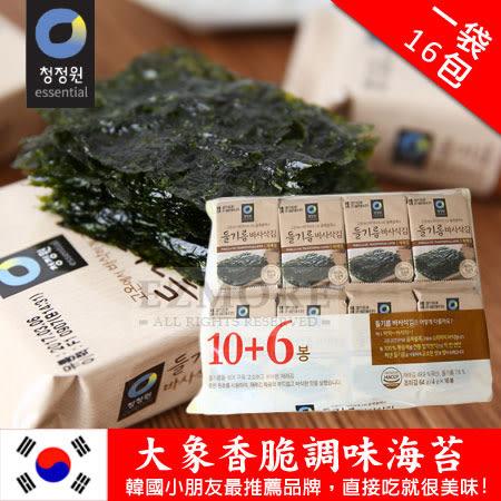韓國 大象香脆調味海苔 (一袋/16包) 64g 海苔 隨身包 香脆海苔
