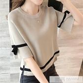 冰絲短袖t恤女寬鬆上衣2020年春夏季新款針織衫薄款百搭網紅短款 韓慕精品