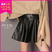 PUFII-短裙 前車線/圓圈造型保暖內磨毛鬆緊腰皮短裙 2色-1129 現+預 冬【CP15668】