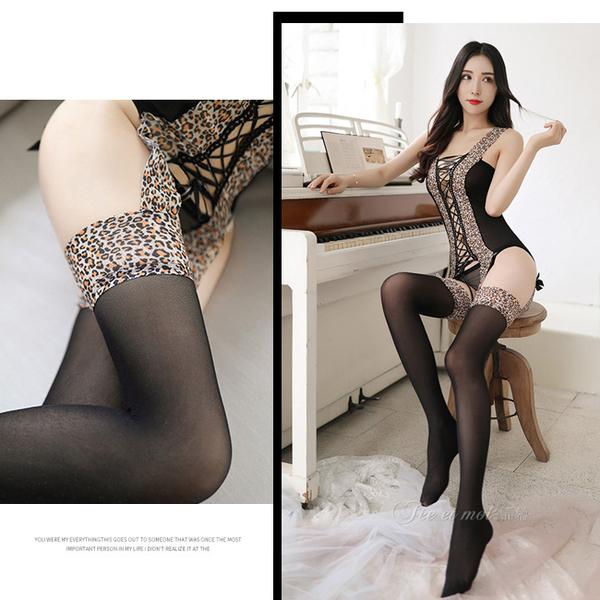 兩件組拼接豹紋吊襪帶連身馬甲 正反可穿 性感貓裝 連身褲襪【女王時尚精品】