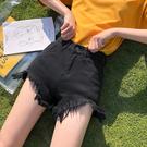 夏装新品正韓宽松学生寬短裤网红同款高腰牛仔裤女毛边热裤