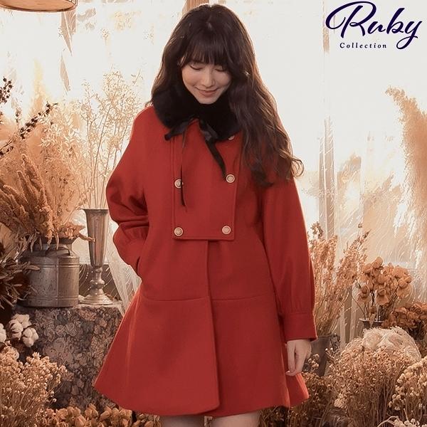 外套 毛領綁帶鈕釦毛呢大衣外套-Ruby s 露比午茶