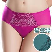 思薇爾-香榭玫瑰系列M-XXL蕾絲中腰三角內褲(碧瓷綠)