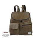棕色-質感鱷魚紋後背包  AMINAH~【am-0308】