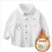 兒童襯衫男童加絨長袖秋冬裝新款寶寶襯衫純棉男女童保暖上衣