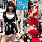克妹Ke-Mei【ZT45807】泰國潮牌  運動風三槓袖連帽拉鍊外套+闊腿短褲套裝