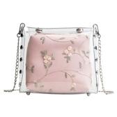透明果凍小包包女2019新款韓版百搭蕾絲鏈條小包鉚釘包