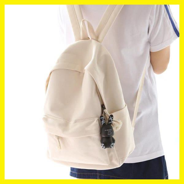 純色帆布書包女雙肩包休閒百搭小清新中學生雙肩背包 居享優品